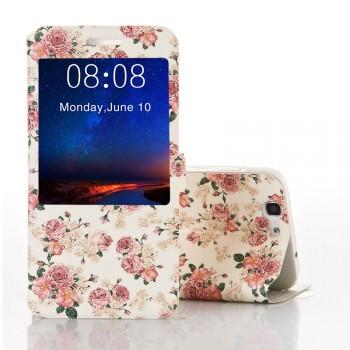 Дизайнерский принтованный чехол флип с окном вызова и подставкой для Huawei Ascend G7
