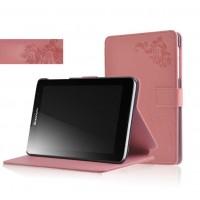 Чехол флип подставка на поликарбонатной основе с узорным тиснением и магнитной защелкой для планшета Lenovo IdeaTab A5500 Розовый