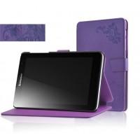 Чехол флип подставка на поликарбонатной основе с узорным тиснением и магнитной защелкой для планшета Lenovo IdeaTab A5500 Фиолетовый