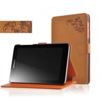 Чехол флип подставка на поликарбонатной основе с узорным тиснением и магнитной защелкой для планшета Lenovo IdeaTab A5500 Оранжевый