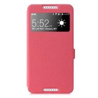 Чехол смарт флип на пластиковой основе с окном вызова серия Colors для HTC Desire 820 Розовый