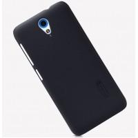 Пластиковый матовый нескользящий премиум чехол для HTC Desire 620 Черный