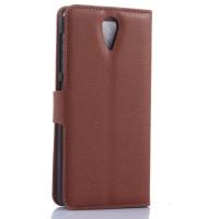 Чехол портмоне подставка с защелкой для HTC Desire 620 Коричневый