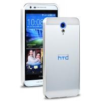 Двухкомпонентный чехол с металлическим бампером и поликарбонатной накладкой для HTC Desire 620 Белый