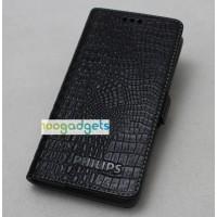 Кожаный чехол портмоне (нат. кожа крокодила) для Philips S388 Черный