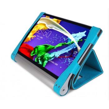 Чехол смартфлип подставка текстурный с рамочной защитой и магнитными клапанами крышки для Lenovo Yoga Tablet 2 10