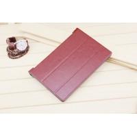 Чехол флип подставка сегментарный на поликарбонатной основе для Lenovo Yoga Tablet 2 8 Коричневый