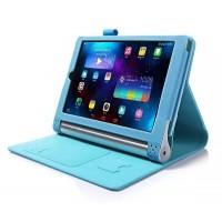 Чехол подставка с рамочной защитой экрана, отделениями для карт и поддержкой кисти для Lenovo Yoga Tablet 2 10 Голубой