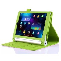 Чехол подставка с рамочной защитой экрана, отделениями для карт и поддержкой кисти для Lenovo Yoga Tablet 2 8 Зеленый