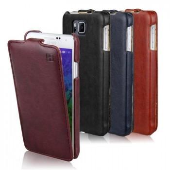 Кожаный чехол вертикальная книжка для Samsung Galaxy Alpha
