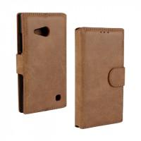 Винтажный чехол портмоне подставка с защелкой для Nokia Lumia 730/735 Коричневый