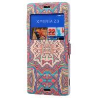 Принтованный чехол флип подставка с окном вызова для Sony Xperia Z3