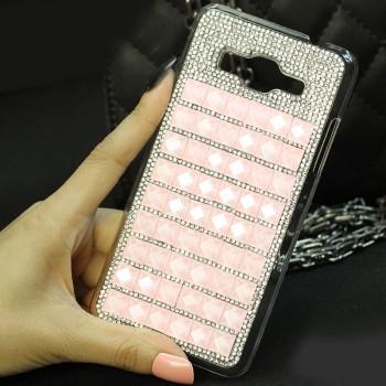 Пластиковый чехол с металлическим напылением и стразами для Samsung Galaxy Grand Prime