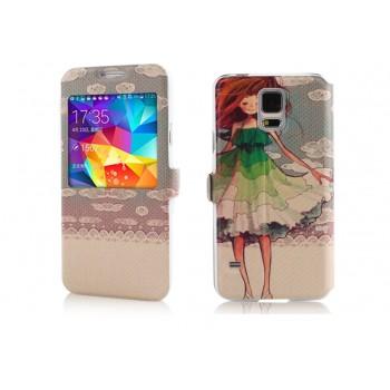 Принтованный чехол флип подставка с окном вызова для Samsung Galaxy S5
