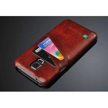 Кожаный чехол накладка глянцевая текстура с отделениями для карт для Samsung Galaxy S5 (Duos)