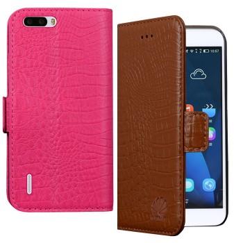 Кожаный чехол портмоне (нат. кожа крокодила) для Huawei Honor 6 Plus