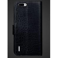 Кожаный чехол портмоне (нат. кожа крокодила) для Huawei Honor 6 Plus Черный