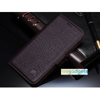 Кожаный чехол портмоне (нат. кожа крокодила) для Huawei Honor 6 Plus Коричневый