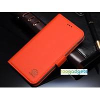 Кожаный чехол горизонтальная книжка (нат. кожа) с крепежной застежкой для Huawei Honor 6 Plus Оранжевый