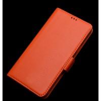 Кожаный чехол портмоне (нат. кожа) для Lenovo P70 Оранжевый