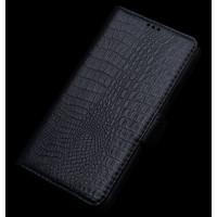 Кожаный чехол портмоне (нат. кожа крокодила) для Lenovo S90 Черный