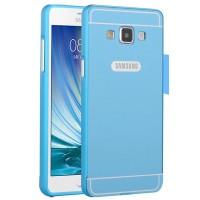 Двухкомпонентный чехол с металлическим бампером и поликарбонатной накладкой для Samsung Galaxy A7 Голубой