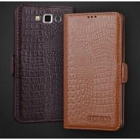 Кожаный чехол портмоне (нат. кожа крокодила) для Samsung Galaxy A7