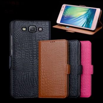 Кожаный чехол портмоне (нат. кожа крокодила) для Samsung Galaxy E7
