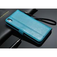 Чехол портмоне с отверстием под ремешок для HTC Desire 816 Синий