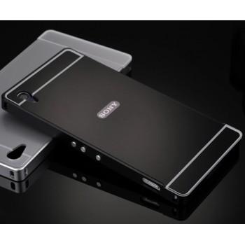 Двухкомпонентный чехол с металлическим бампером и поликарбонатной накладкой с отверстием под логотип для Sony Xperia Z2
