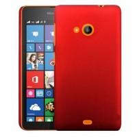 Пластиковый матовый металлик чехол для Microsoft Lumia 535 Красный