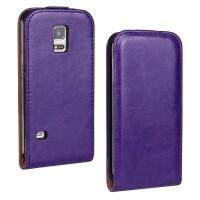 Чехол вертикальная книжка на пластиковой основе с магнитной застежкой для Samsung Galaxy S5 Mini Фиолетовый