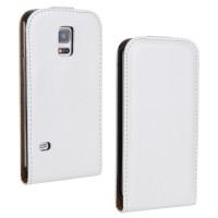 Чехол вертикальная книжка на силиконовой основе с магнитной застежкой для Samsung Galaxy S5 Mini Белый