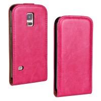 Чехол вертикальная книжка на силиконовой основе с магнитной застежкой для Samsung Galaxy S5 Mini Пурпурный