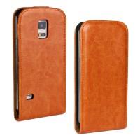 Чехол вертикальная книжка на силиконовой основе с магнитной застежкой для Samsung Galaxy S5 Mini Оранжевый