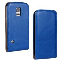 Чехол вертикальная книжка на силиконовой основе с магнитной застежкой для Samsung Galaxy S5 Mini Синий