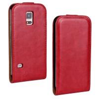 Чехол вертикальная книжка на силиконовой основе с магнитной застежкой для Samsung Galaxy S5 Mini Красный