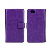 Чехол портмоне подставка с защелкой глянцевый для Sony Xperia Z1 Compact Фиолетовый