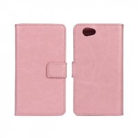 Чехол портмоне подставка с защелкой глянцевый для Sony Xperia Z1 Compact Розовый
