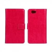 Чехол портмоне подставка с защелкой глянцевый для Sony Xperia Z1 Compact Пурпурный