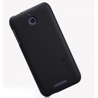 Пластиковый матовый нескользящий премиум чехол для HTC Desire 510 Черный