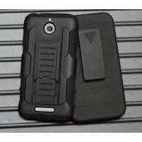 Силиконовый чехол экстрим защита с поликарбонатными вставками и функцией подставки для HTC Desire 510 Черный