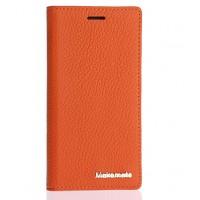 Кожаный чехол флип подставка с внутренним отсеком на пластиковой основе для ZTE Star 1 Оранжевый