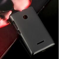 Силиконовый матовый полупрозрачный чехол для Microsoft Lumia 435 Черный