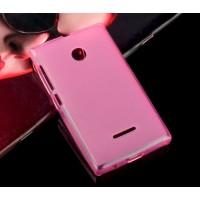 Силиконовый матовый полупрозрачный чехол для Microsoft Lumia 435 Розовый