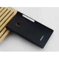 Пластиковый матовый непрозрачный чехол для Microsoft Lumia 435 Черный