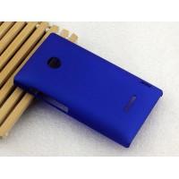 Пластиковый матовый непрозрачный чехол для Microsoft Lumia 435 Синий