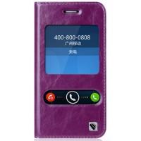 Кожаный чехол флип подставка на силиконовой основе с окном вызова и свайпом для ASUS Padfone S Фиолетовый
