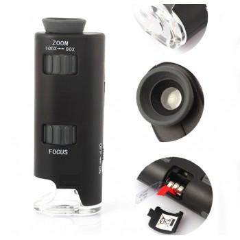Эксклюзивный пластиковый чехол с накладным микроскопом (60-100x увеличение, подсветка LED) для Iphone 5s/SE