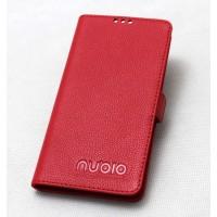 Кожаный чехол портмоне (нат. кожа) с крепежной застежкой для ZTE Nubia Z7 Mini Красный